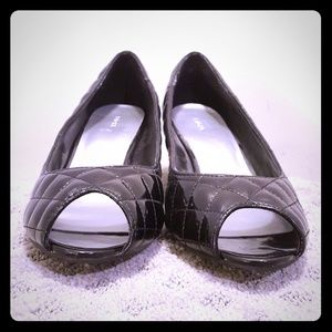 Diamond Quilted Peep Toe Kitten Heel Work Pumps